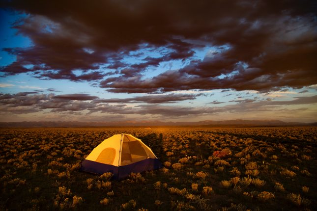 set-up-brown-tent-surrounded-by-flowers-under-cloudy-sky-3568479